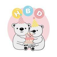 feliz lindo osos polares celebrando cumpleaños vector