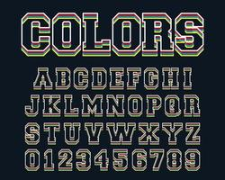 Colored lines alphabet template vector