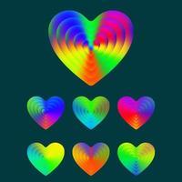 Conjunto de corazones de textura degradado colorido vector