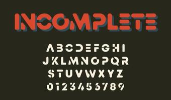 Minimal letters and numbers incomplete alphabet design