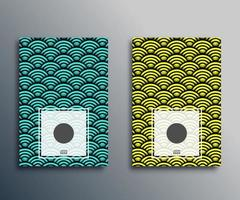 Japanese waves classic pattern set vector