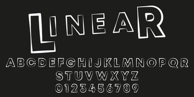 Stamp stroke linear font template vector