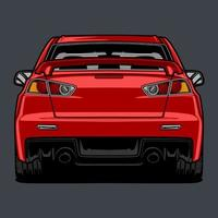 dibujo de carro rojo vista posterior