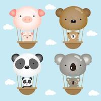Little animals flying in hot air balloon vector