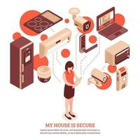 Isometric smart home and security template banner