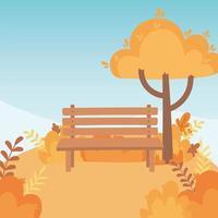 banco del parque, árbol, hojas y montaña vector