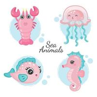 Cute sea animals set