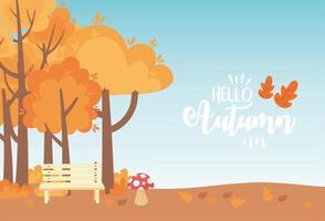 banco del parque, setas, árboles y prado vector