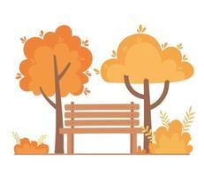 banco del parque, árboles, arbustos, escena de la naturaleza
