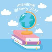International literacy day. School globe map on books