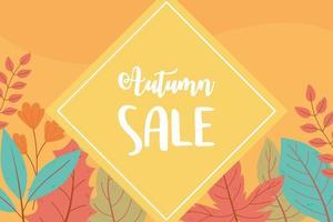 cartel de venta de compras enmarcado con hojas