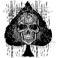 Spades icon with grunge skull   vector