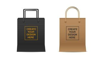 conjunto de maqueta de bolsa de compras vector