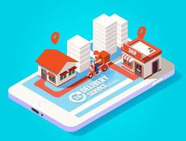 Fast delivery by scooter on mobile isometric concept