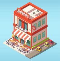 Isometric restaurant building vector