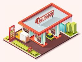 Gas stations isometric composition