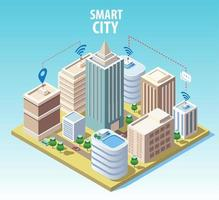 Isometric smart city technology concept vector