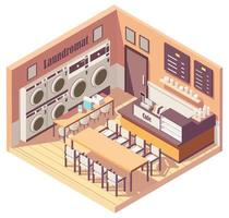 Isometric cute small laundromat and cafe vector