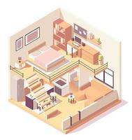 Isometric house different rooms composition