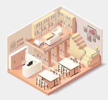 Interior isométrico de librería o biblioteca. vector