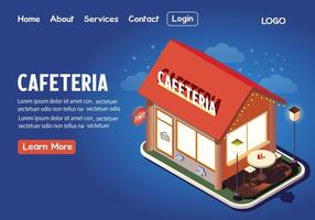 Cafeteria isometric landing page vector