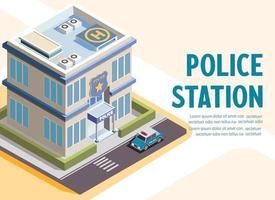 Isometric police station building