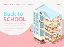Isometric back to school landing page
