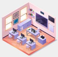 Isometric empty computer classroom vector