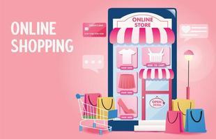 Flat design online shopping landing page vector