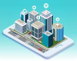 Isometric design of smart city mobile app on tablet