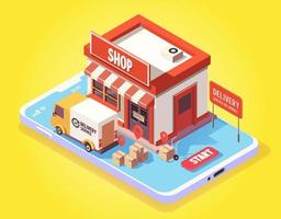 Isometric fast delivery by truck on mobile vector