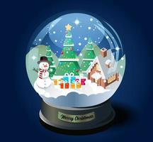 bola de cristal navideña con árbol de navidad, casa y muñeco de nieve