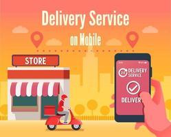 conceito de serviço de entrega móvel de scooter vetor