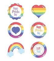 feliz día del orgullo conjunto de iconos
