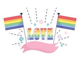 Rainbow flags flowers ribbon LGBT community