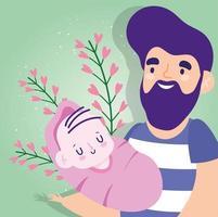 padre con bebe y corazones