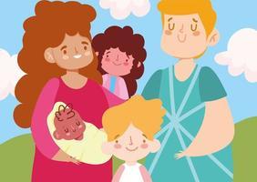 madre, padre, bebé, hija, hijo, y, nubes