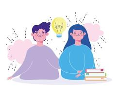 Online education concept with characters and books vector