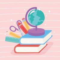 Globe map, books, scissors, crayon, pencil, and ruler vector