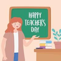 maestro, lección, escritorio, pizarra, libros y planta vector