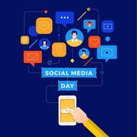 Social Media Day Connected Smartphone User Design vector