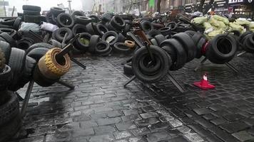 Barrikaden auf der Chreschchatyk-Straße