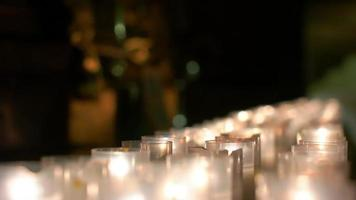 Row of Burning Candles Grouped Together video