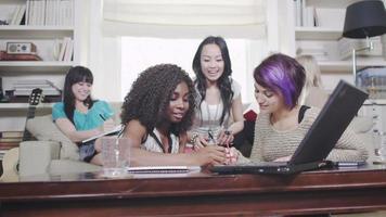 meninas se divertindo estudando ou trabalhando juntas