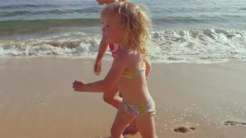 ragazze carine camminano insieme sulla spiaggia