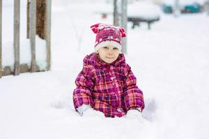 the girl walks in snow weather photo