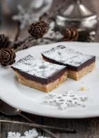 Chocolate Brownies Decorated with Powdered Sugar