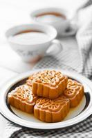 Retro vintage style Chinese mid autumn festival foods. Tradition photo