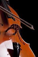 Bow on cello's string, studio detail photo