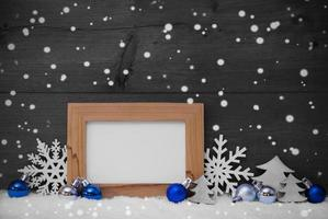 Blue Gray Christmas Decoration, Snow, Copy Space, Snowflakes